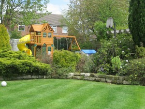 Wooden Playhouse and lawn.